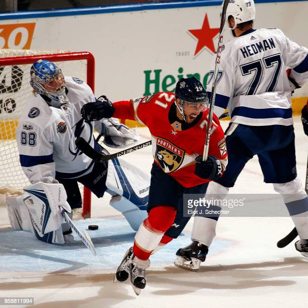 Vincent Trocheck of the Florida Panthers celebrates his goal in the third period against the Tampa Bay Lightning at the BBT Center on October 7 2017...