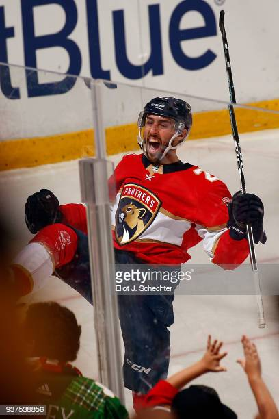 Vincent Trocheck of the Florida Panthers celebrates his goal to tie the game against the Arizona Coyotes at the BBT Center on March 24 2018 in...