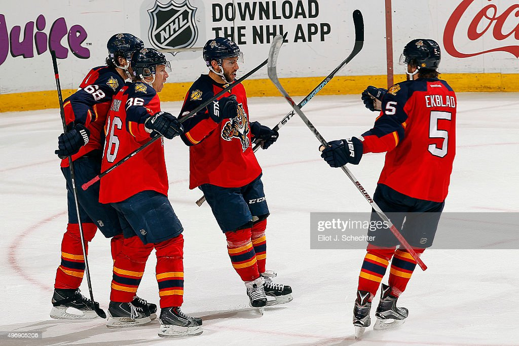 Vincent Trocheck #21 of the Florida Panthers celebrates his goal with teammates against the Buffalo Sabres at the BB&T Center on November 12, 2015 in Sunrise, Florida.