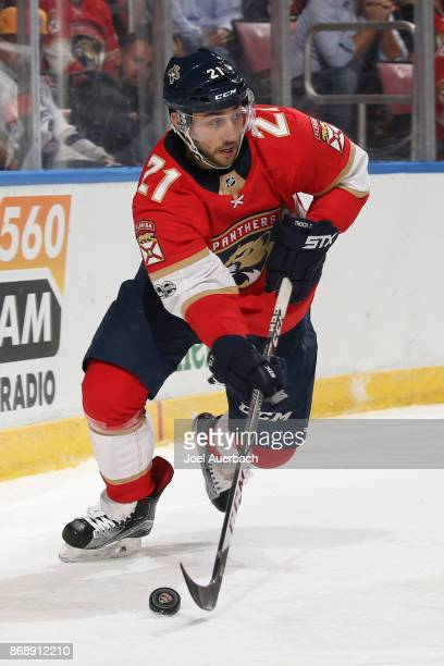 Vincent Trocheck of the Florida Panthers circles the net with the puck against the Tampa Bay Lightning at the BBT Center on October 30 2017 in...