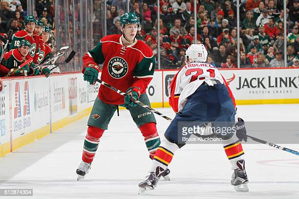 Vincent Trocheck of the Florida Panthers defends Mike Reilly of the Minnesota Wild during the game on February 28 2016 at the Xcel Energy Center in...