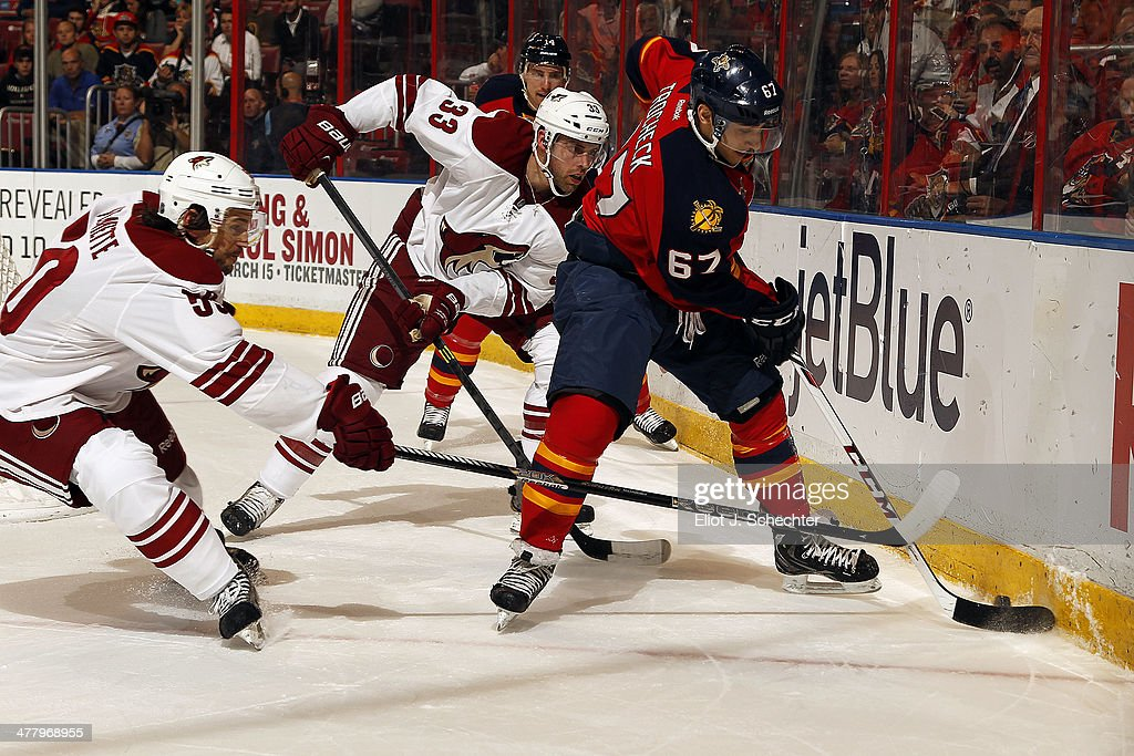 Vincent Trocheck #67 of the Florida Panthers digs the puck out from the boards against Antoine Vermette #50 of the Phoenix Coyotes at the BB&T Center on March 11, 2014 in Sunrise, Florida.