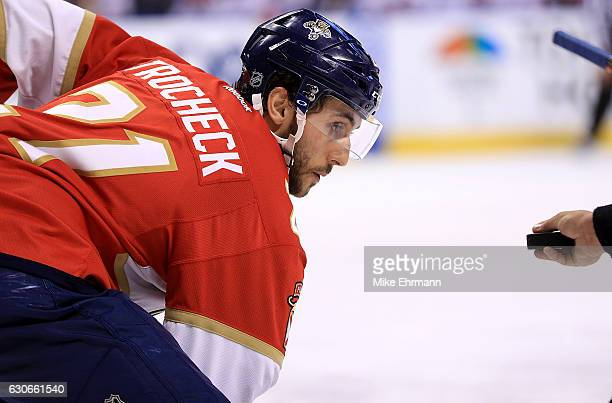 Vincent Trocheck of the Florida Panthers faces off during a game against the Montreal Canadiens at BBT Center on December 29 2016 in Sunrise Florida