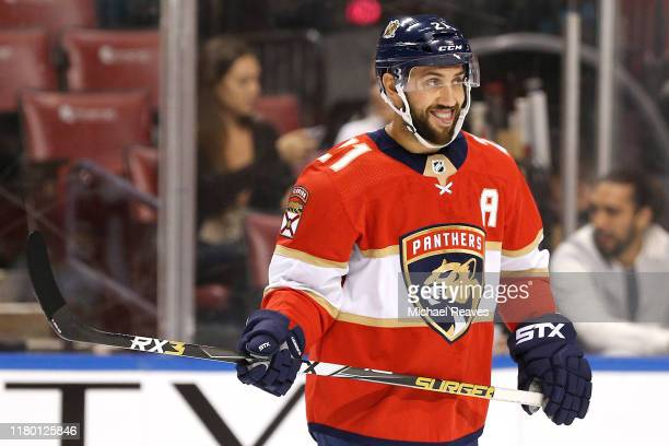 Vincent Trocheck of the Florida Panthers looks on against the Carolina Hurricanes during the first period at BBT Center on October 08 2019 in Sunrise...