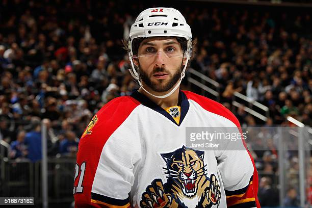 Vincent Trocheck of the Florida Panthers looks on during a break in the action against the New York Rangers at Madison Square Garden on March 21 2016...