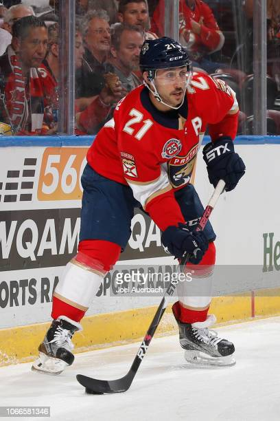 Vincent Trocheck of the Florida Panthers looks ot pass the puck in front of the Ottawa Senators net at the BBT Center on November 11 2018 in Sunrise...