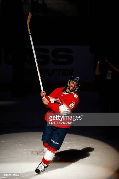 Vincent Trocheck of the Florida Panthers salutes the fans after his shoot out goal for the win against the New York Rangers at the BBT Center on...