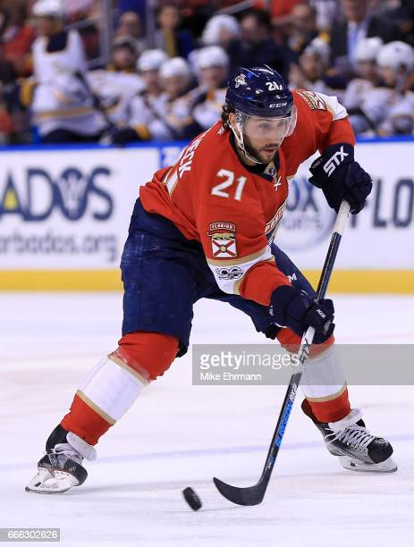 Vincent Trocheck of the Florida Panthers shoots during a game against the Buffalo Sabres at BBT Center on April 8 2017 in Sunrise Florida