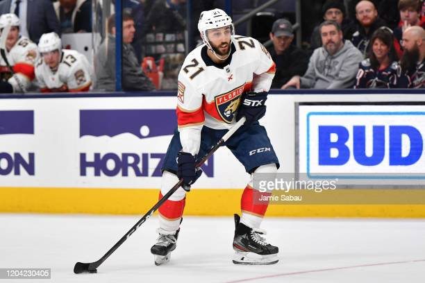 Vincent Trocheck of the Florida Panthers skates against the Columbus Blue Jackets on February 4 2020 at Nationwide Arena in Columbus Ohio
