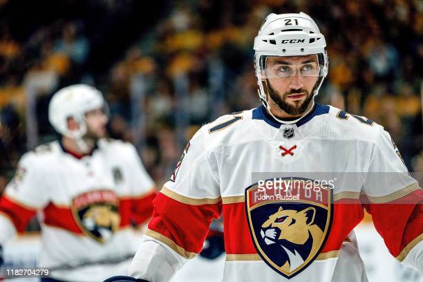 Vincent Trocheck of the Florida Panthers skates against the Nashville Predators at Bridgestone Arena on October 19 2019 in Nashville Tennessee