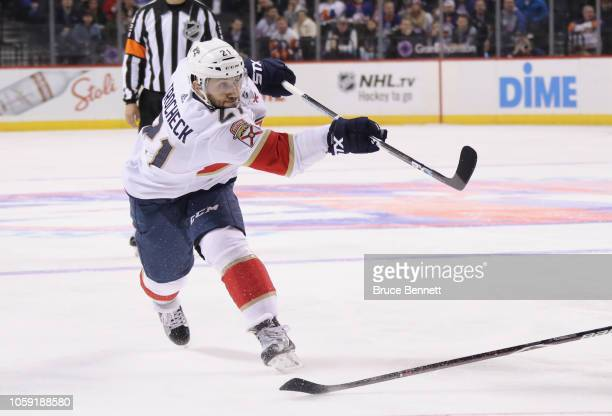 Vincent Trocheck of the Florida Panthers skates against the New York Islanders at the Barclays Center on October 24 2018 in the Brooklyn borough of...