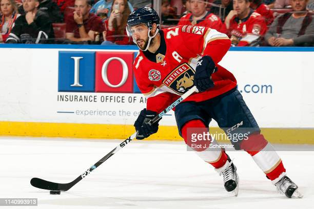 Vincent Trocheck of the Florida Panthers skates with the puck against the New Jersey Devils at the BBT Center on April 6 2019 in Sunrise Florida