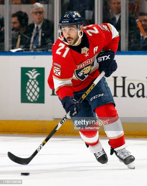 Vincent Trocheck of the Florida Panthers skates with the puck against the New York Islanders at the BBT Center on December 12 2019 in Sunrise Florida