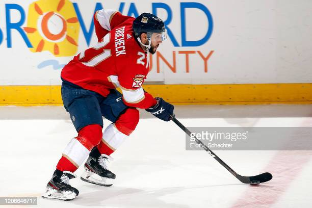 Vincent Trocheck of the Florida Panthers skates with the puck against the Edmonton Oilers at the BBT Center on February 15 2020 in Sunrise Florida