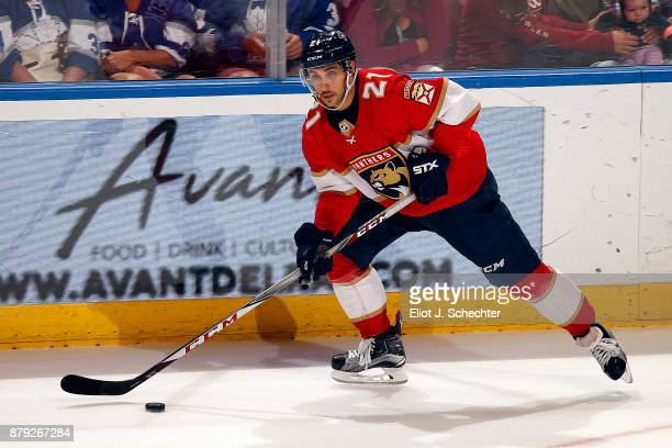 Vincent Trocheck of the Florida Panthers skates with the puck against the Toronto Maple Leafs at the BBT Center on November 22 2017 in Sunrise Florida