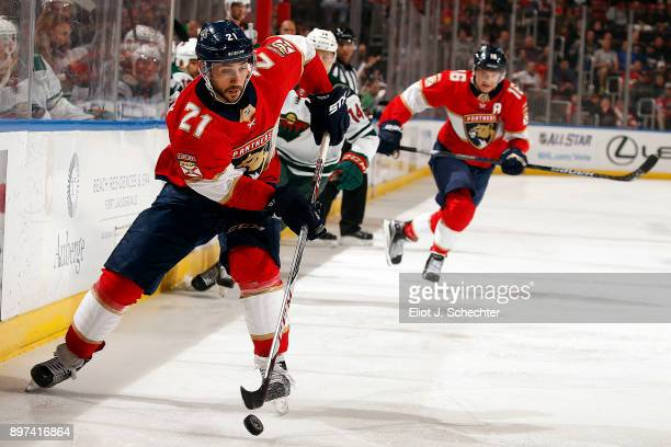 Vincent Trocheck of the Florida Panthers skates with the puck during the first period against the Minnesota Wild at the BBT Center on December 22...