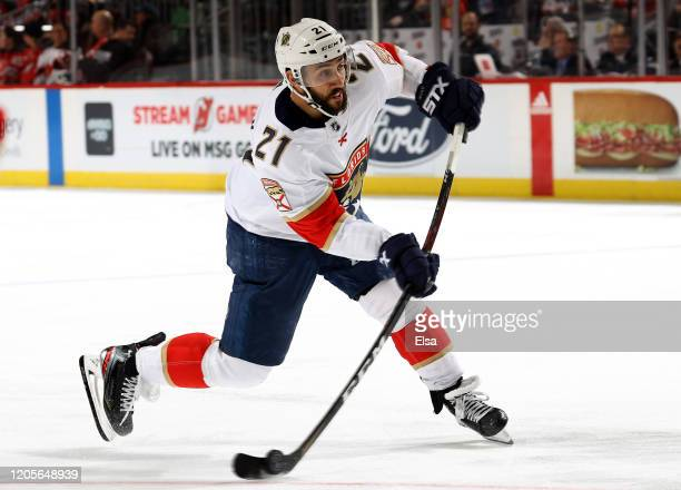 Vincent Trocheck of the Florida Panthers takes a shot in the third period against the New Jersey Devils at Prudential Center on February 11 2020 in...