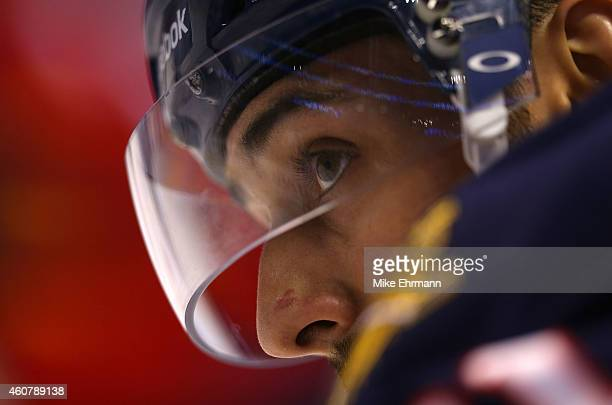 Vincent Trocheck of the Florida Panthers waits for a faceoff during a game against the Pittsburgh Penguins at BBT Center on December 22 2014 in...