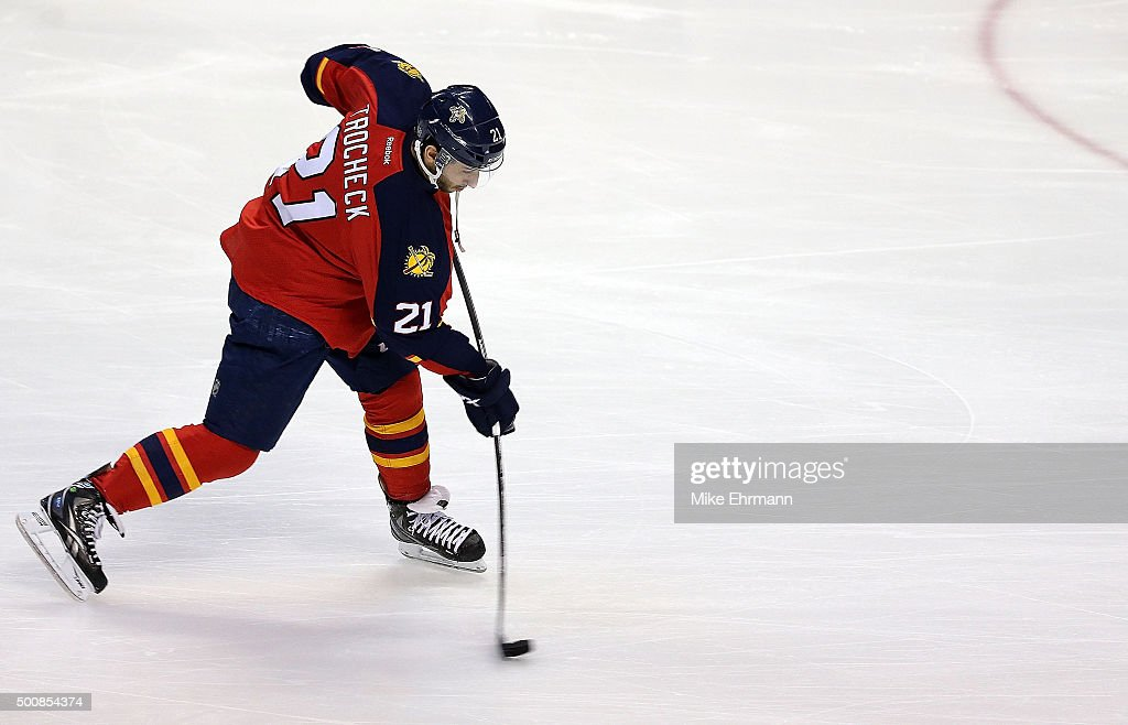 Vincent Trocheck #21 of the Florida Panthers warms up during a game against the Washington Capitals at BB&T Center on December 10, 2015 in Sunrise, Florida.