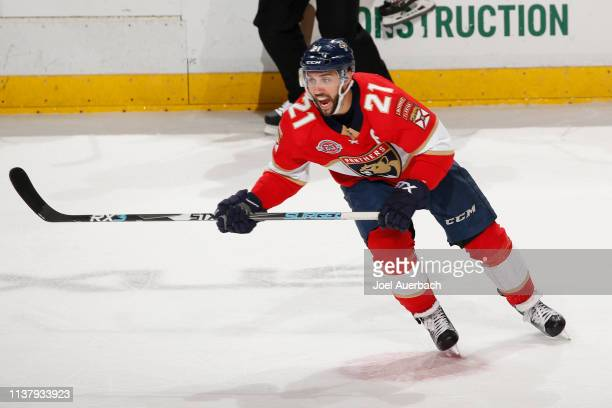 Vincent Trocheck of the Florida Panthers yells to a teammate as he skates up ice against the Boston Bruins at the BBT Center on March 23 2019 in...