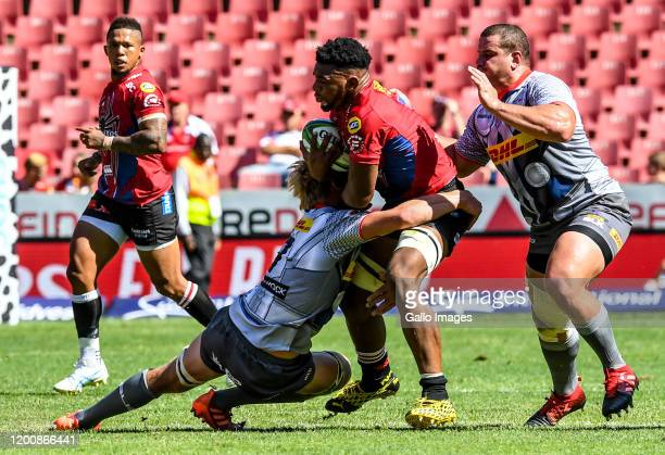 Vincent Tshituka of the Lions with ball possession during the Super Rugby match between Emirates Lions and DHL Stormers at Emirates Airline Park on...