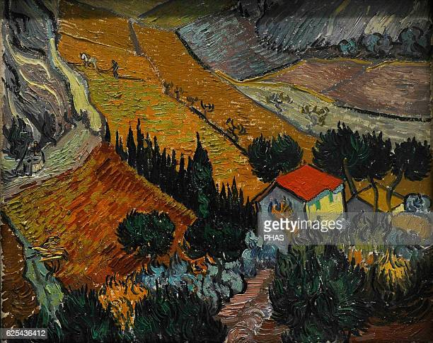 Vincent Van Gogh Dutch PostImpressionist painter Landscape with house and ploughman 1889 Oil on canvas The State Hermitage Museum Saint Petersburg...