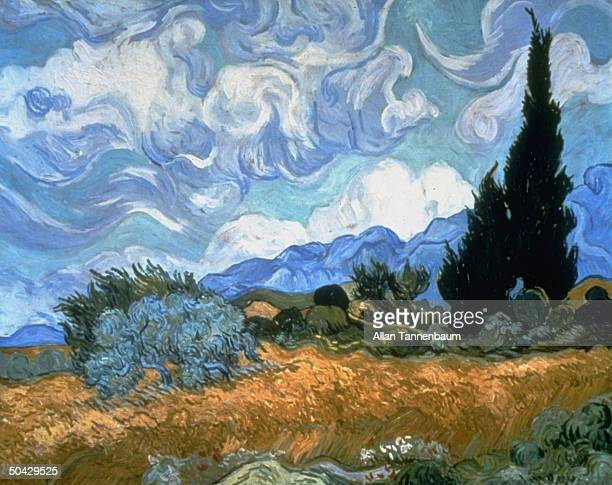 Vincent Van Gogh ptg Wheat Field w Cypresses bought in 1993 by publishing tycoon Walter Annenberg for $57 million donated to NYC's Metropolitan Museum