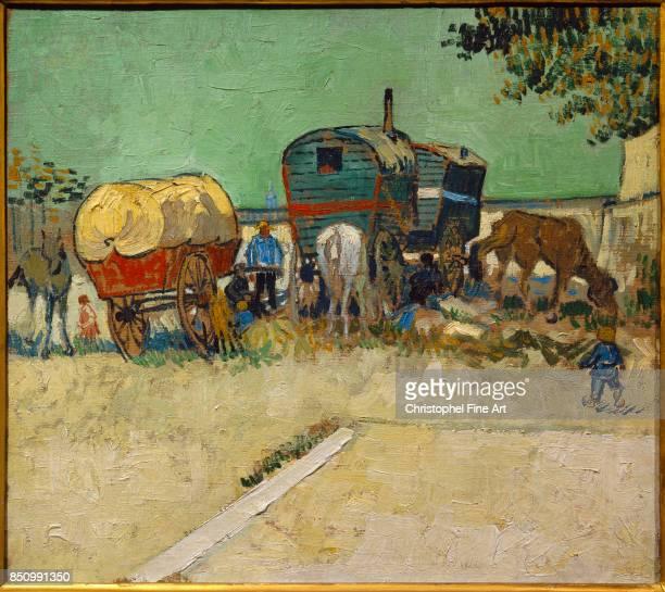 Vincent Van Gogh The Caravans Gypsy Encampment near Arles 1888 Oil on canvas 045 x 051 m Paris musee d'Orsay