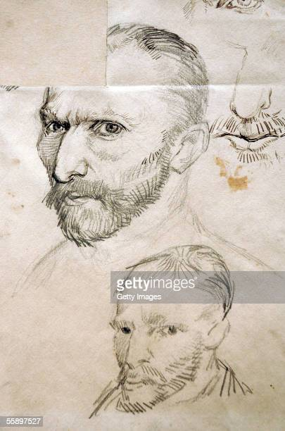 Vincent Van Gogh's drawing 'SelfPortraits' is displayed at the exhibit 'Vincent Van Gogh The Drawings' during a press preview at the Metropolitan...