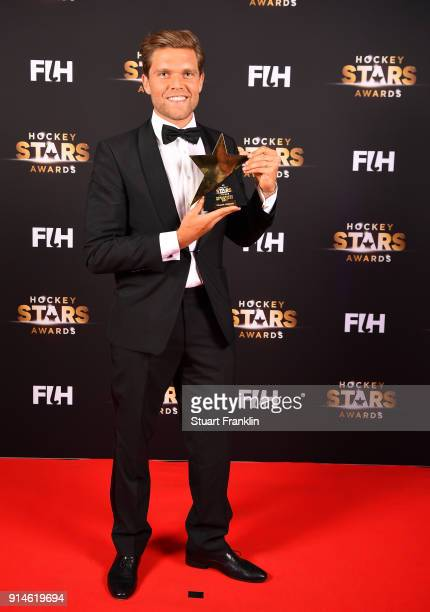 Vincent Vanasch of Belgium holds his award for goalkeeper of the year during the Hockey Star Awards night at Stilwerk on February 5 2018 in Berlin...