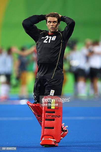 Vincent Vanasch of Belgium reacts after losing the Men's Hockey Gold Medal match between Belgium and Argentina on Day 13 of the Rio 2016 Olympic...