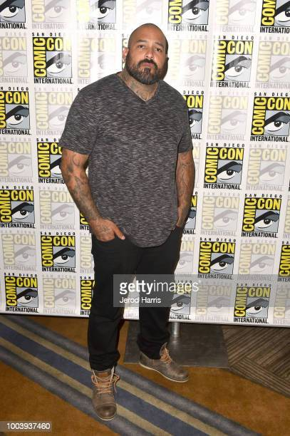 Vincent Vargas attends FX's Mayans MC press line during ComicCon International 2018 at Hilton Bayfront on July 22 2018 in San Diego California