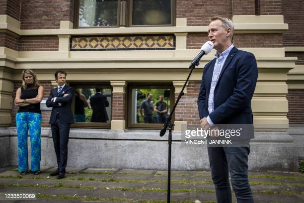 Vincent Wevers speaks to the press at the outside the courthouse n after the ruling on the summary proceedings of the gymnastics coach against the...