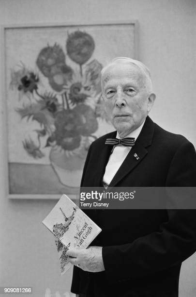Vincent Willem van Gogh Vincent van Gogh's nephew and the founder of the Van Gogh Museum in front of the painting 'Still Life Vase with Fifteen...