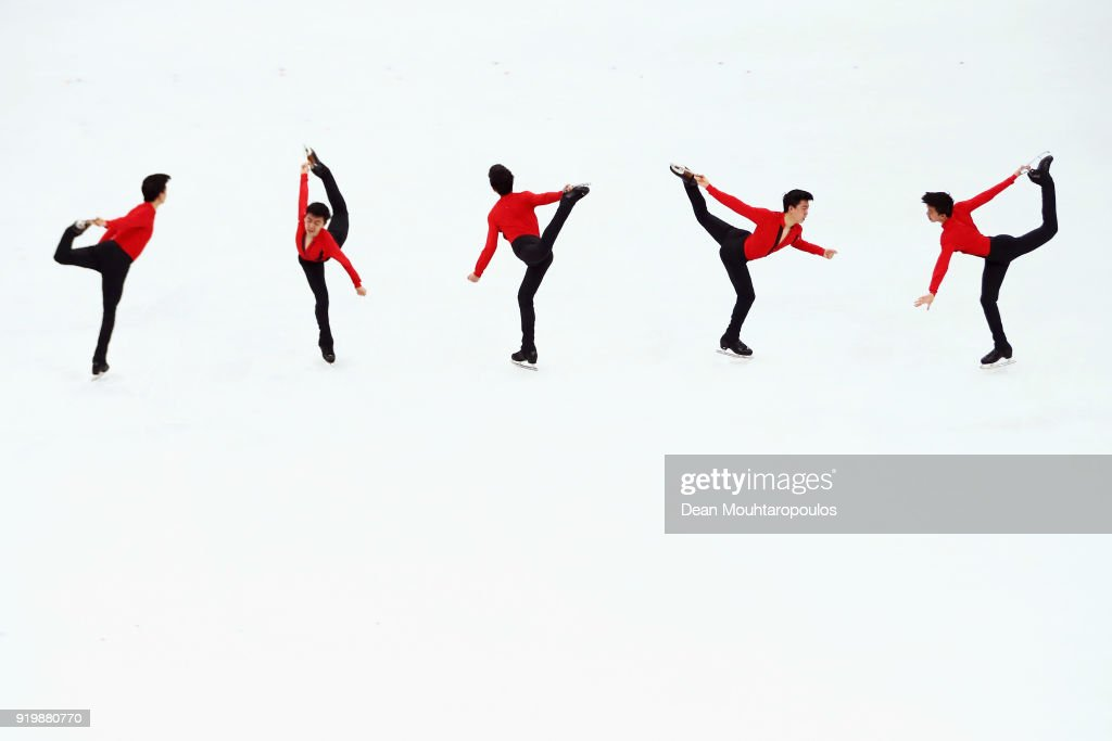 Vincent Zhou of the United States competes during the Men's Single Free Program on day eight of the PyeongChang 2018 Winter Olympic Games at Gangneung Ice Arena on February 17, 2018 in Gangneung, South Korea.