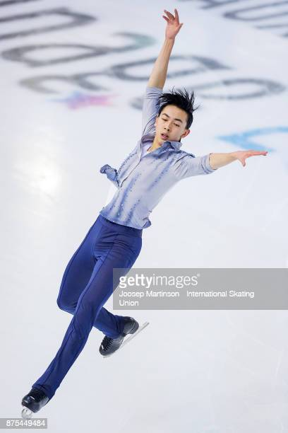 Vincent Zhou of the United States competes in the Men's Short Program during day one of the ISU Grand Prix of Figure Skating at Polesud Ice Skating...