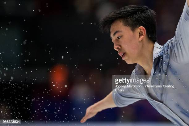 Vincent Zhou of the United States competes in the Men's Short Program during day two of the World Figure Skating Championships at Mediolanum Forum on...