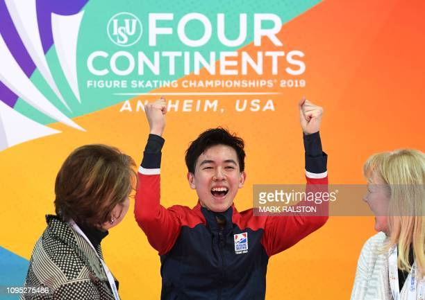 Vincent Zhou of the US celebrates after scoring 10018 points to lead the Men's Short Program of the ISU Four Continents Figure Skating Championship...