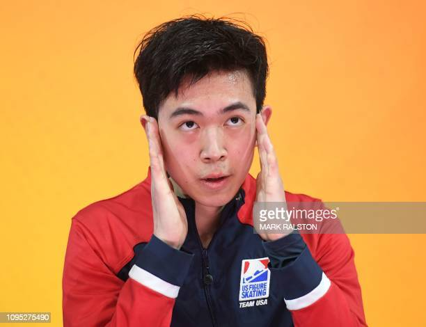 Vincent Zhou of the US celebrates after scoring 100.18 points to lead the Men's Short Program of the ISU Four Continents Figure Skating Championship...
