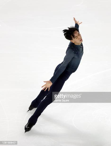 Vincent Zhou of the USA competes in the Mens Short Program during the ISU Grand Prix of Figure Skating at the Orleans Arena on October 23, 2020 in...