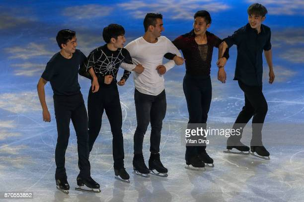 Vincent Zhou of United States Jin Boyang of China Max Aaron of United States Han Cong of China and Yan Han of China perform during exhibition program...