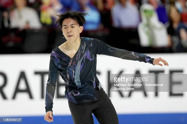 Vincent Zhou skates in the Men's Free Skate during the ISU Grand Prix of Figure Skating at Orleans Arena October 24, 2020 in Las Vegas, Nevada.