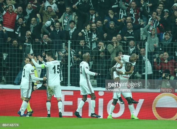 Vincente Aboubakar of Besiktas celebrates with teammates after scoring during the UEFA Europa League Round 16 secondleg match between Besiktas and...