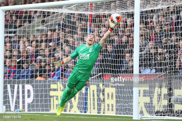 Vincente Guaita of Crystal Palace saving a shot during the Premier League match between Crystal Palace and Watford at Selhurst Park London on...