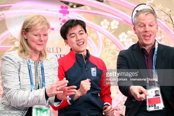 VincentZhou of the United States celebrates his score at the kiss and cry after competing in the Men Free Skating on day four of the 2019 ISU World...