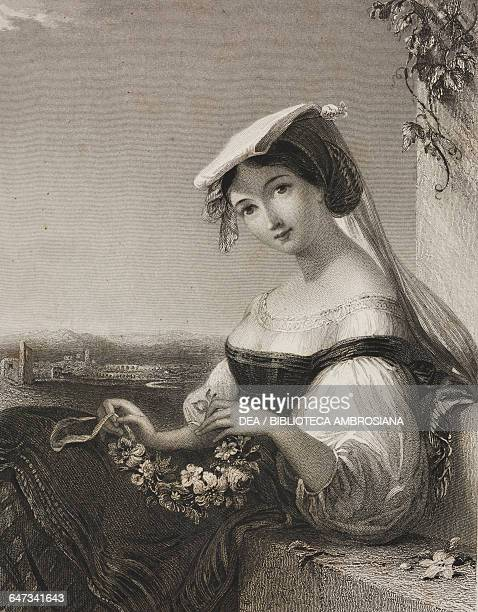 Vincenza illustration from Gallery of Graces with illustrations from Heath's Book of Beauty ca 18301840