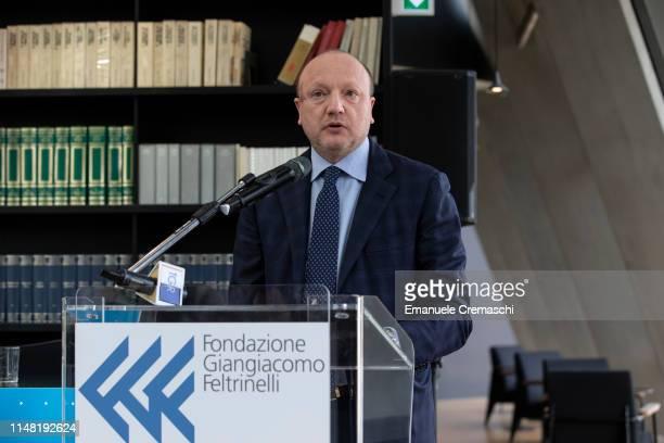 Vincenzo Boccia, President of Confindustria attends a news conference organized by the Italian National Institute of Statistics at Fondazione...