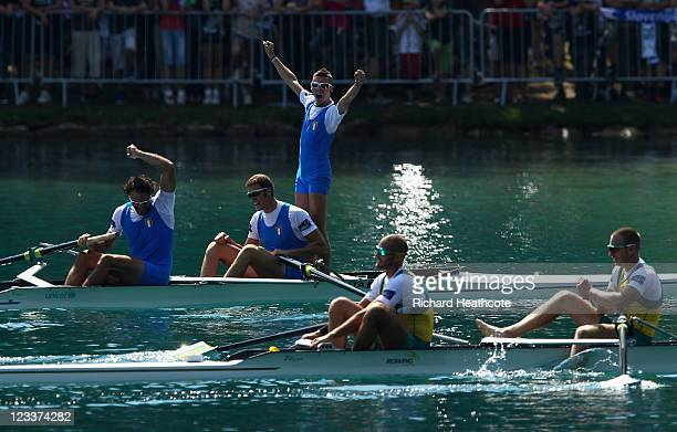Vincenzo Capelli Pierpaolo Frattini and Niccolo Fanchi of Italy celebrate winning the Men's Coxed Pair final during day six of the FISA Rowing World...
