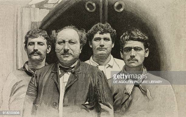 Vincenzo Carrisi Vincenzo Fondacaro Vincenzo Sciplini and Vincenzo Galasso ship crew of the Cesare Cantu wrecked in the Atlantic Ocean engraving by...