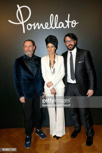 Vincenzo Castaldo Helen Nonini and Stefano Cortecci attend the new Pomellato campaign launch with Chiara Ferragni as part of Paris Fashion Week...